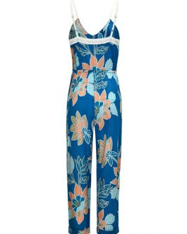 Women Floral Sleeveless Adjustable Straps Straight Leg Jumpsuit
