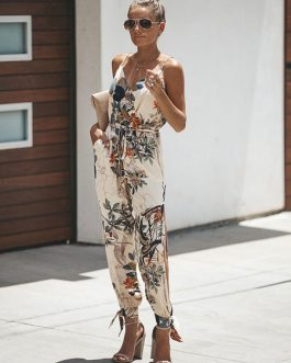 Women Floral Sleeveless V Neck Split Jumpsuit