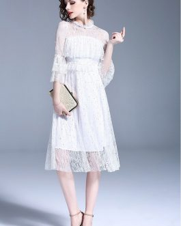 Women Floral lace dress Sweet Holiday party lady Dress