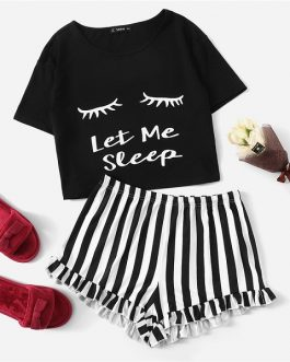Women Graphic Graphic Tee Frilled Striped Shorts Patchwork Sleepwear