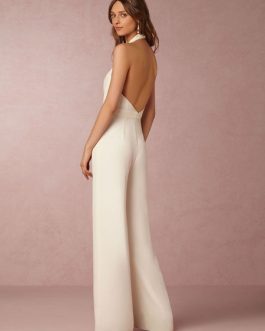 Women Halter Backless Sleeveless Wide Leg Long Jumpsuit