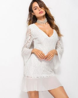 Women Lace Dress V Neck Mini Dress Flared Sleeve Fall Dress