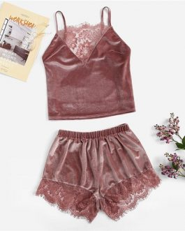 Women Lace Insert Velvet Cami Top and Shorts Sleepwear Pajama Sets