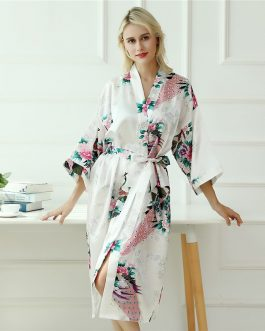 Women Peacock and Flower Print Robe Self Belted Gown Night Sleepwear