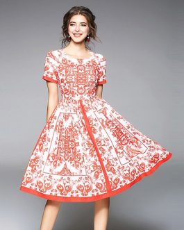 Women Print short Dress sexy sweet Holiday Party Dress