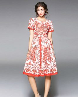 Women Print short Dress sexy sweet Holiday Party Dress