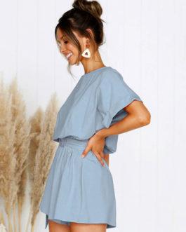 Women Romper Short Sleeve Bateau Neck Casual Playsuit
