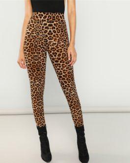 Women Sexy Highstreet Leopard Print Long Leggings