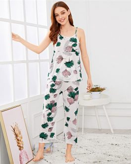 Women Sexy Leaf Print Cami Top Pants PJ Set Sleeveless Nightwear
