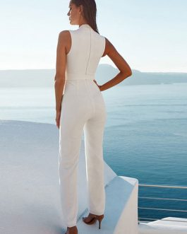 Women Sexy Sheer Sleeveless Straight Leg Jumpsuit