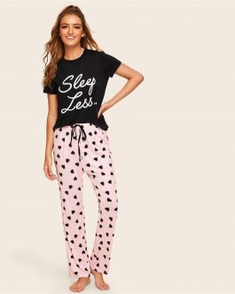 Women Slogan Print Top And Drawstring Waist Heart Pants Pajama Set