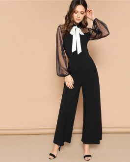 Women Mid Waist Bishop Sleeve Elegant Sexy Jumpsuit