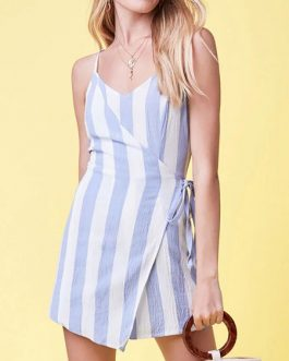 Women Striped Romper Adjustable Straps Wrap Playsuit