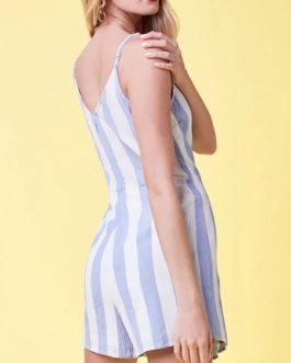 Women Striped Romper Adjustable Straps Wrap Playsuit