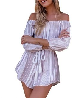 Women Stripped Short Jumpsuit Short Playsuits Beach Rompers Overall
