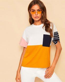 Women Striped Short Sleeve Streetwear Loose Tshirt