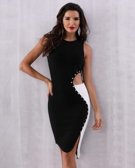 Women Tank Hollow Out Vestidos Bodycon Bandage Dress