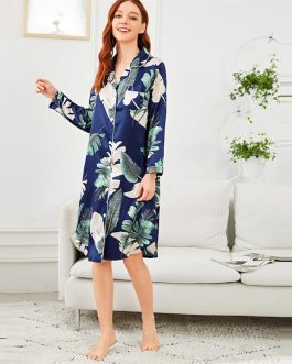 Women Tropical Print Button Up Pocket Night Dress