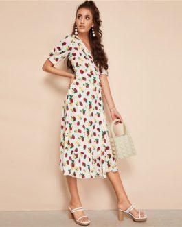 Women V-Neck A Line Fit and Flare Belted Elegant Dresses