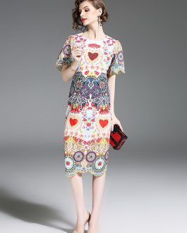 Women Vintage Print Vestidos femme Butterfly Sleeve  party dress