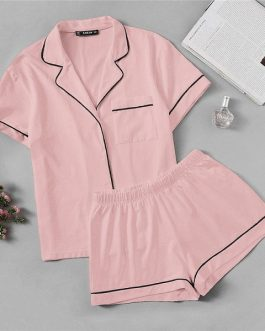 Womens Contrast Piping Pocket Front Shirt Pajama Set