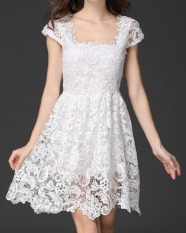 Women's Lace Dress Square Neck Cap Sleeve Wavy Hem Pleated Short Flare Dress