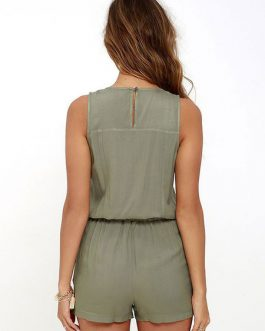 Women's Short Sleeveless Drawstring Straight Leg Playsuit
