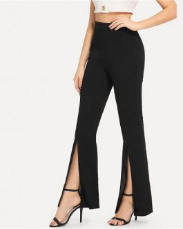 Workwear Elegant Plain Mid Waist Casual Pants