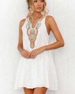Women Boho V Neck Buttons Printed Mini Dress