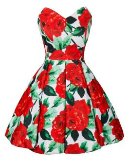 Women Floral Rose Print Sweetheart Sleeveless Pleated Vintage Dress