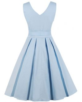 Women V Neck Sleeveless Pleated Bows Vintage Dress