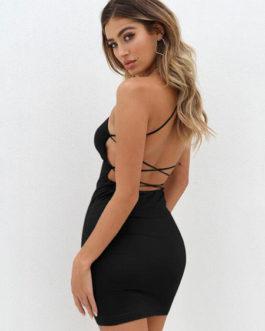 Women Sexy Spaghetti Straps Lace Up Backless Club Dress