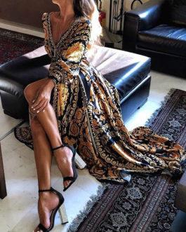 Women Sexy Long Sleeve V Neck Artwork Printed Maxi Dress