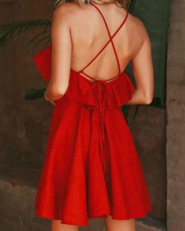 Women Straps Ruffles Lace Up Backless Sexy Mini Dress