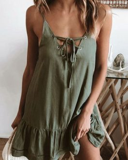 Women Sexy Lace Up Sleeveless Mini Dress