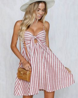 Women Rainbow Stripe Strapes Knotted Mini Dress
