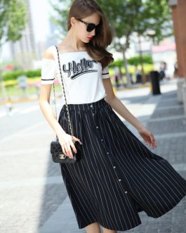 Cold-Shoulder Print Stripes Cotton Toop and Skirt for Women