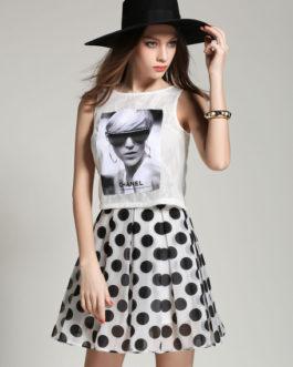 Polka Dots Print Organza Top and Skirt for Women