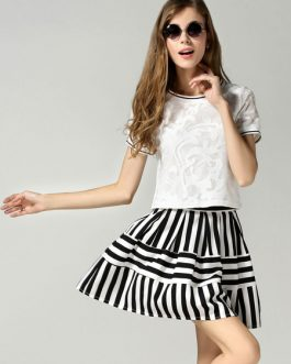Two-Toned Stripes Lace Top and Skirt for Women