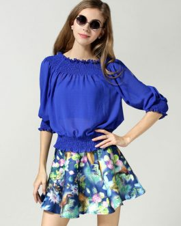 Ruched Print Cotton Flax Top and Skirt for Women