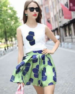 Printed Chiffon Top and Skirt for Women