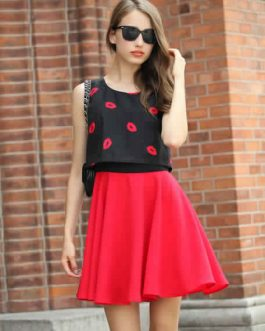 Two-Toned Print Cotton Flax Top and Skirt for Women
