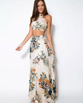 Women Straps Backless Cropped Floral Print Cotton Maxi Dress