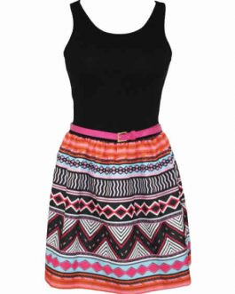 Tank Top Tribal Print Skirt Flared Dress