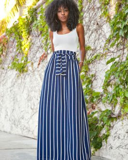 Color Block Two piece Sets Sleeveless Tops And Stripes Skirt