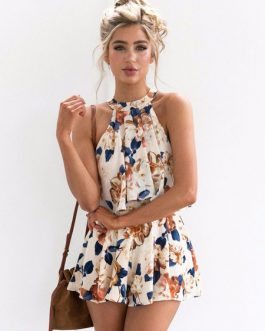 Floral Print Halter Women's Sleeveless Top And Shorts