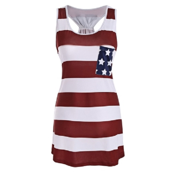 211e245eebca American Flag Bowknot Patriotic Racerback Tank Dress - Power Day Sale