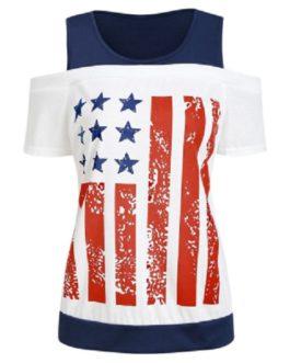 American Flag Cold Shoulder Top