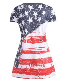American Flag Lace Up Plus Size T-shirt