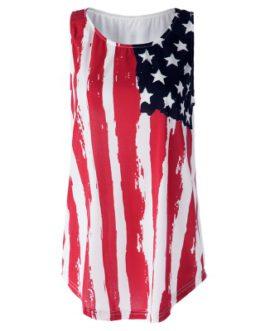 American Flag Patriotic Print Tank Top